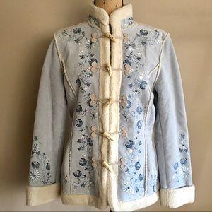 Boho Suede Floral Embroidered Coat Jacket
